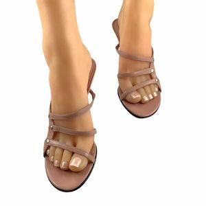 IMPO Women Pink Leather Slide Heels 7